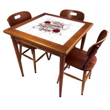 Mesa pequena de jantar com 3 cadeiras para apartamento Happiness - Empório Tambo