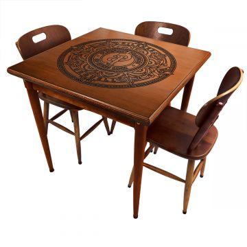 Mesa jantar 80x80 pequena de madeira com 3 cadeiras Pilsner - Empório Tambo