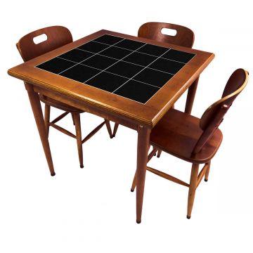 Mesa pequena de jantar com 3 cadeiras para apartamento Preto - Empório Tambo