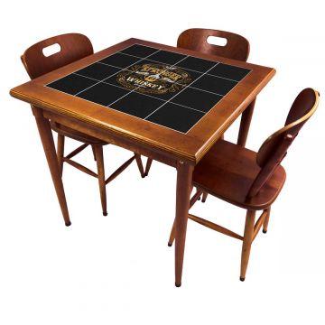 Mesa pequena de jantar com 3 cadeiras para apartamento Stronger Whiskey - Empório Tambo