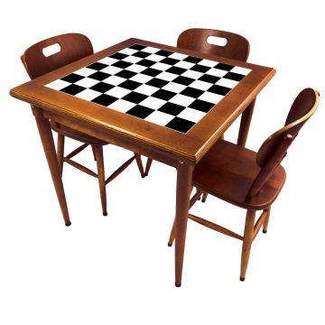 Mesa pequena de jantar com 3 cadeiras para apartamento Textura Xadrez - Empório Tambo