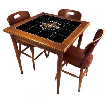 Mesa pequena de jantar com 3 cadeiras para apartamento Harley Davidson Genuine - Empório Tambo