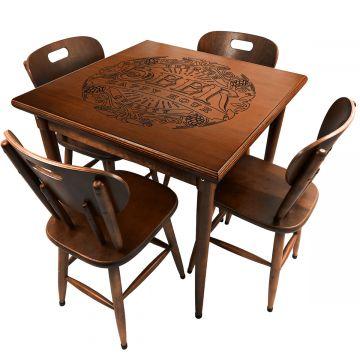 Mesa para lanchonete de madeira maciça com 4 lugares Beer Happy Hour - Empório Tambo
