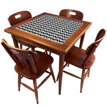 Mesa de Jantar 4 Lugares quadrada de madeira para casa edícula Copacabana - Empório Tambo