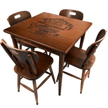 Mesa para lanchonete de madeira maciça com 4 lugares Familia e amigos - Empório Tambo