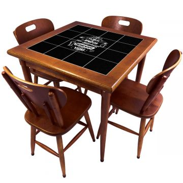 Mesa de Jantar 4 Lugares quadrada de madeira para casa edícula Família e Amigos - Empório Tambo