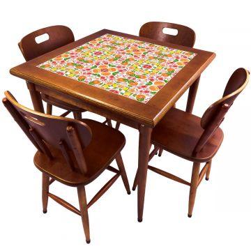 Mesa de Jantar 4 Lugares quadrada de madeira para casa edícula Frutas - Empório Tambo