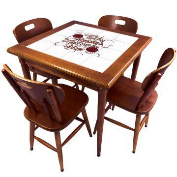 Mesa de Jantar 4 Lugares quadrada de madeira para casa edícula Happiness - Empório Tambo