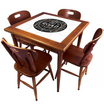 Mesa de Jantar 4 Lugares quadrada de madeira para casa edícula Hit the Road Jack - Empório Tambo