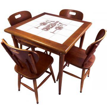 Mesa de Jantar 4 Lugares quadrada de madeira para casa edícula More Wine - Empório Tambo