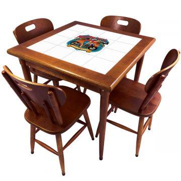 Mesa de Jantar 4 Lugares quadrada de madeira para casa edícula Motorcycle - Empório Tambo