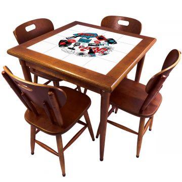 Mesa de Jantar 4 Lugares quadrada de madeira para casa edícula Oh My - Empório Tambo