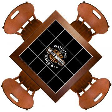 Mesa de Jantar 4 Lugares quadrada de madeira para casa edícula Harley Davidson Genuine - Empório Tambo