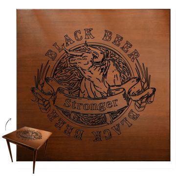Mesa para lanchonete de madeira maciça com 4 lugares Black Beer - Empório Tambo