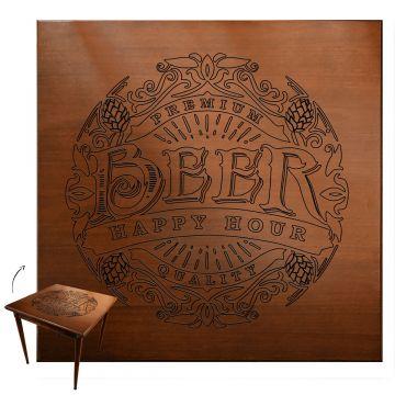 Mesa jantar 80x80 pequena de madeira com 3 cadeiras Beer Happy Hour - Empório Tambo