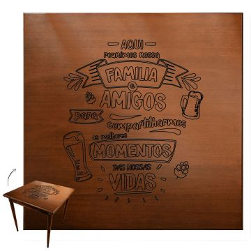Mesa quadrada madeira maciça rustica Familia e amigos - Empório Tambo