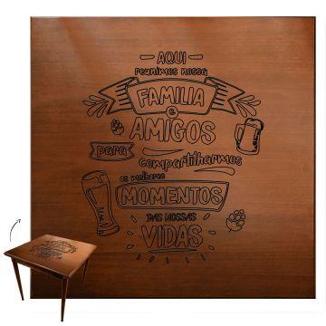 mesa quadrada para cozinha pequena de apartamento com 2 cadeiras Familia e amigos - Empório Tambo
