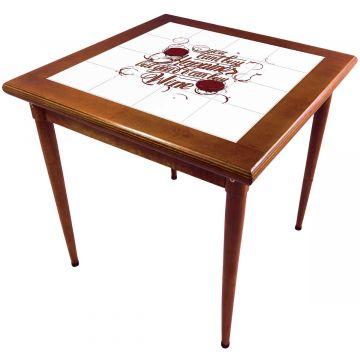 Mesa de madeira jantar maciça rustica quadrada Happiness - Empório Tambo