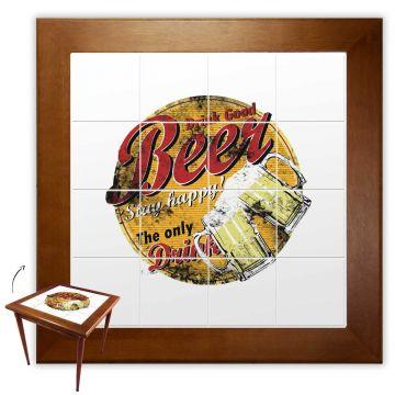 Mesa de Jantar 4 Lugares quadrada de madeira para casa edícula Beer Stay Happy - Empório Tambo