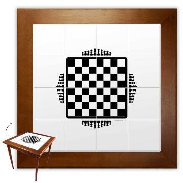 Mesa de jantar pequena quadrada para sala 2 cadeiras Tabuleiro de Xadrez - Empório Tambo