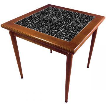 Mesa de madeira jantar maciça rustica quadrada Textura Café - Empório Tambo