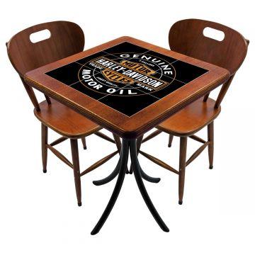 Mesa para cozinha pequena com 2 cadeiras Harley Davidson Genuine - Empório Tambo