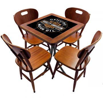Jogo de Mesa com 4 Cadeiras madeira para lanchonete bar cozinha Harley Davidson Genuine - Empório Tambo