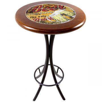 Mesa alta de bar redonda em madeira Beer Stay Happy - Empório Tambo