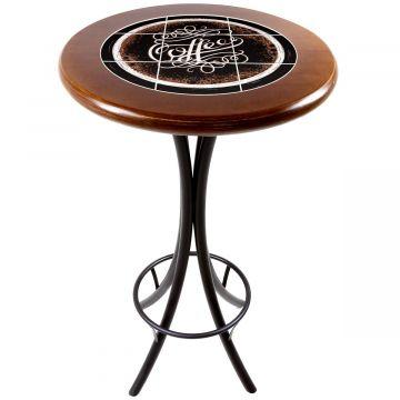 Mesa alta de bar redonda em madeira Coffe - Empório Tambo
