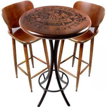 Mesa de barzinho madeira alta redonda com 2 banquetas Black Beer - Empório Tambo