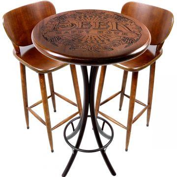 Mesa de barzinho madeira alta redonda com 2 banquetas Beer Happy Hour - Empório Tambo