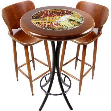 Conjunto de mesa e 2 cadeiras para varanda e sacada Beer Stay Happy - Empório Tambo