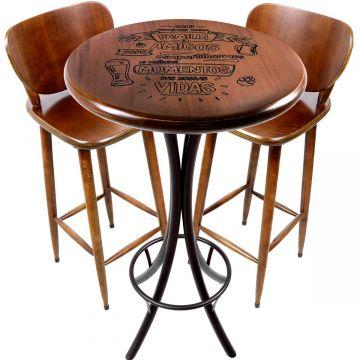 Mesa de barzinho madeira alta redonda com 2 banquetas Familia e amigos - Empório Tambo