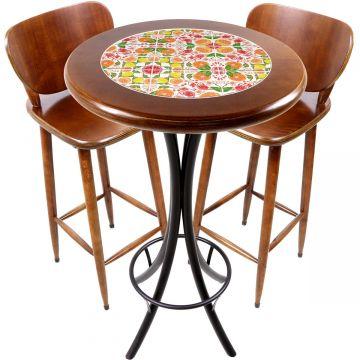 Conjunto de mesa e 2 cadeiras para varanda e sacada Frutas - Empório Tambo