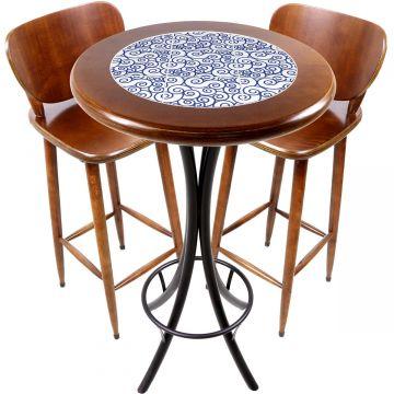 Conjunto de mesa e 2 cadeiras para varanda e sacada Ondulação - Empório Tambo