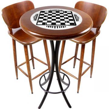 Conjunto de mesa e 2 cadeiras para varanda e sacada Tabuleiro de Xadrez - Empório Tambo