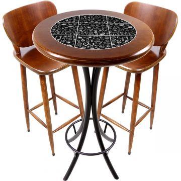 Conjunto de mesa e 2 cadeiras para varanda e sacada Textura Café - Empório Tambo