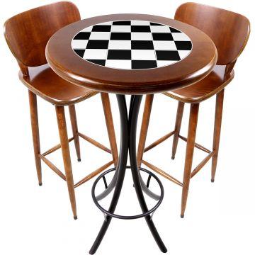 Conjunto de mesa e 2 cadeiras para varanda e sacada Textura Xadrez - Empório Tambo