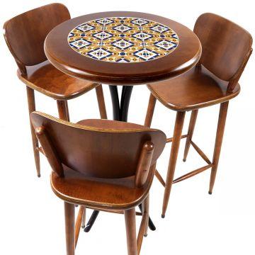 Mesa para sacada gourmet redonda alta com 3 lugares Anos Dourados - Empório Tambo