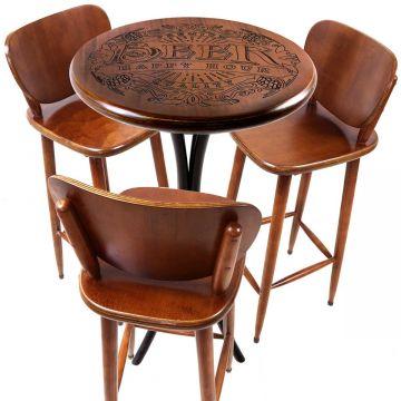 Mesa bistrô com banquetas altas madeira de jequitibá Beer Happy Hour - Empório Tambo