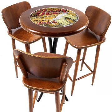 Mesa para sacada gourmet redonda alta com 3 lugares Beer Stay Happy - Empório Tambo