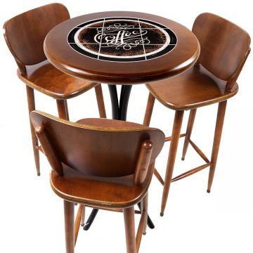 Mesa para sacada gourmet redonda alta com 3 lugares Coffe - Empório Tambo