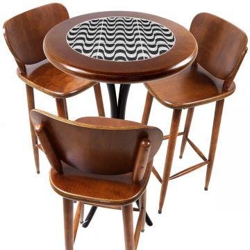 Mesa para sacada gourmet redonda alta com 3 lugares Copacabana - Empório Tambo