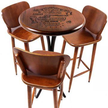 Mesa bistrô com banquetas altas madeira de jequitibá Familia e amigos - Empório Tambo