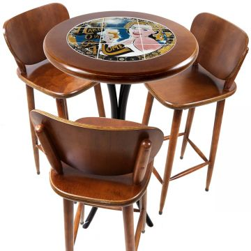 Mesa para sacada gourmet redonda alta com 3 lugares Go hard or Go Home - Empório Tambo