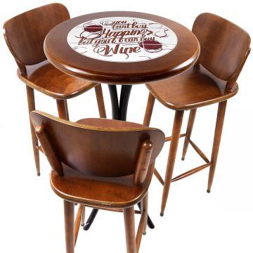 Mesa para sacada gourmet redonda alta com 3 lugares Happiness - Empório Tambo