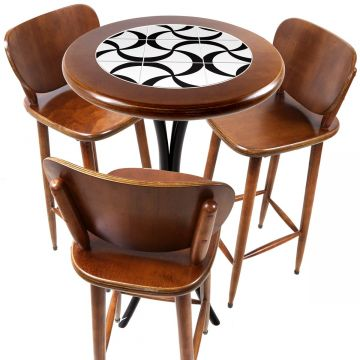 Mesa para sacada gourmet redonda alta com 3 lugares Luar - Empório Tambo