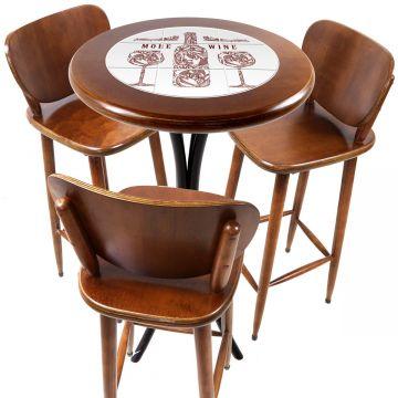 Mesa para sacada gourmet redonda alta com 3 lugares More Wine - Empório Tambo
