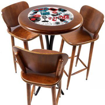 Mesa para sacada gourmet redonda alta com 3 lugares Oh My - Empório Tambo