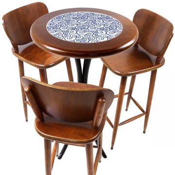 Mesa para sacada gourmet redonda alta com 3 lugares Ondulação - Empório Tambo